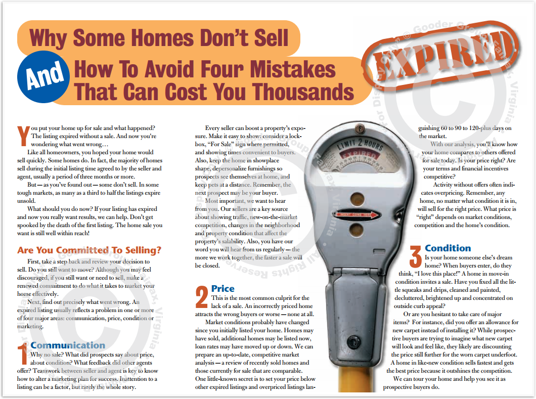 Why Some Homes Don't Sell And How To Avoid Four Mistakes That Can Cost You Thousands Print Real Estate Brochure HomeActions Brochure Preview