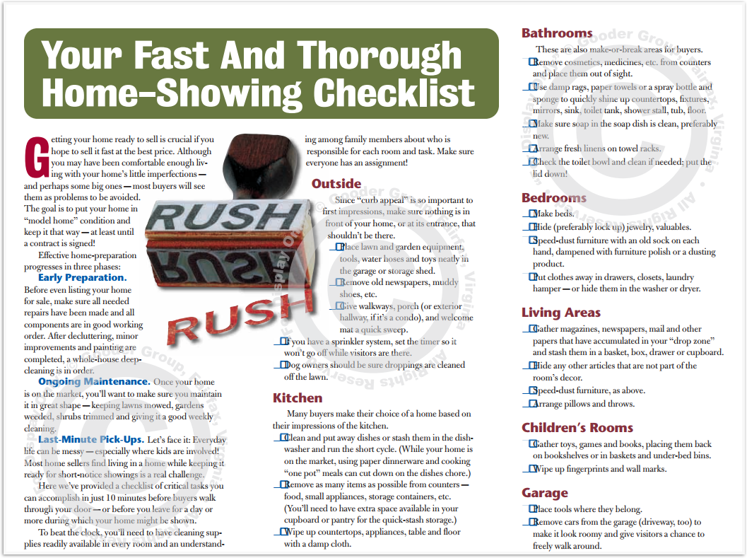 Your Fast And Thorough Home-Showing Checklist Print Real Estate Brochure HomeActions Brochure Preview