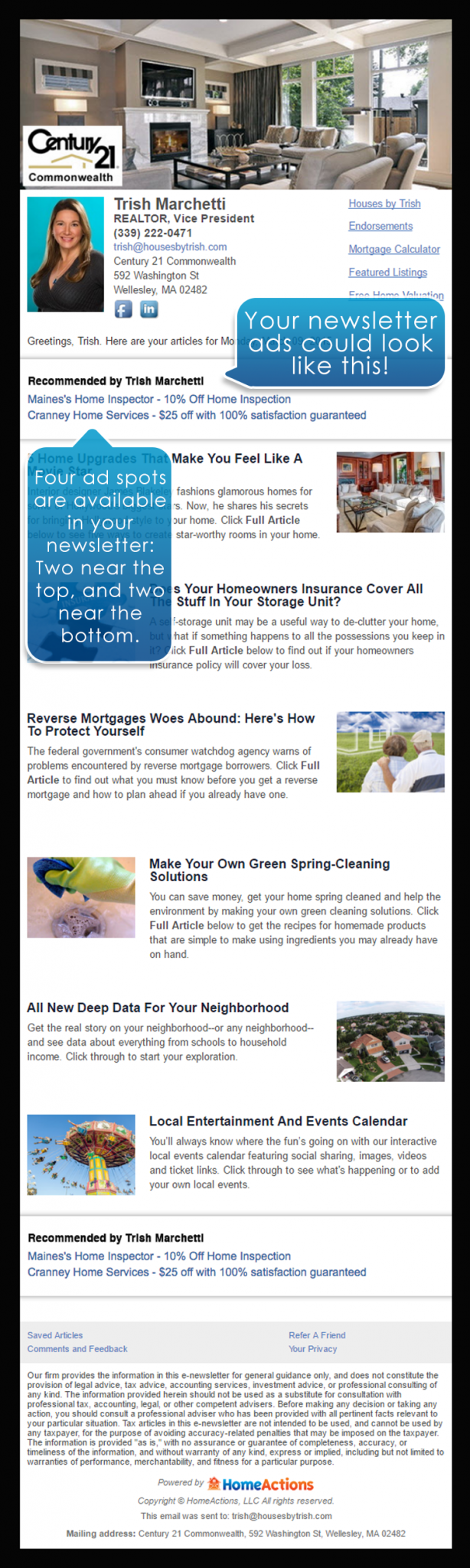 Real Estate Advertising Program Newsletter Example