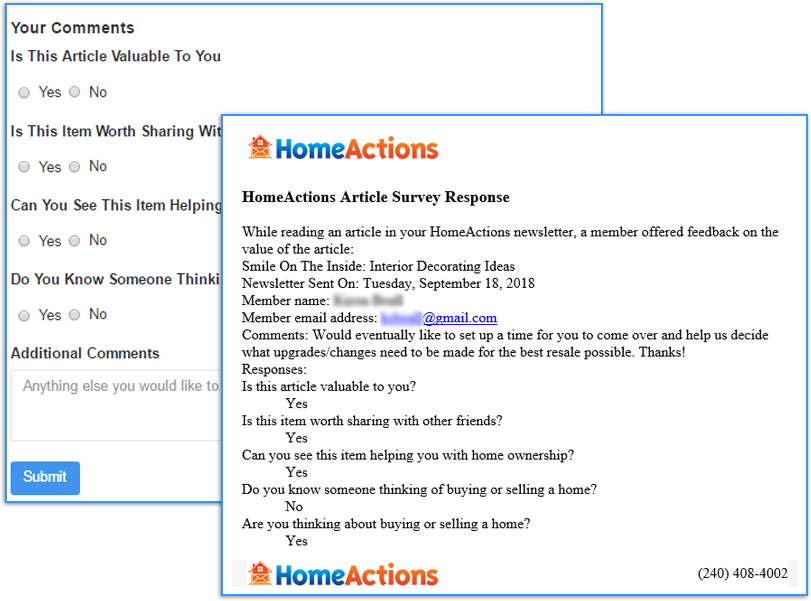 HomeActions Customizable Survey Tool For Your Email Marketing Newsletter