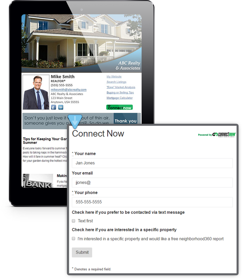 Example Of Connect Now™'s Integration With HomeActions Real Estate Newsletters