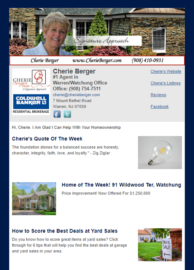 Coldwell Banker Residential Brokerage HomeActions Email Newsletter Sample