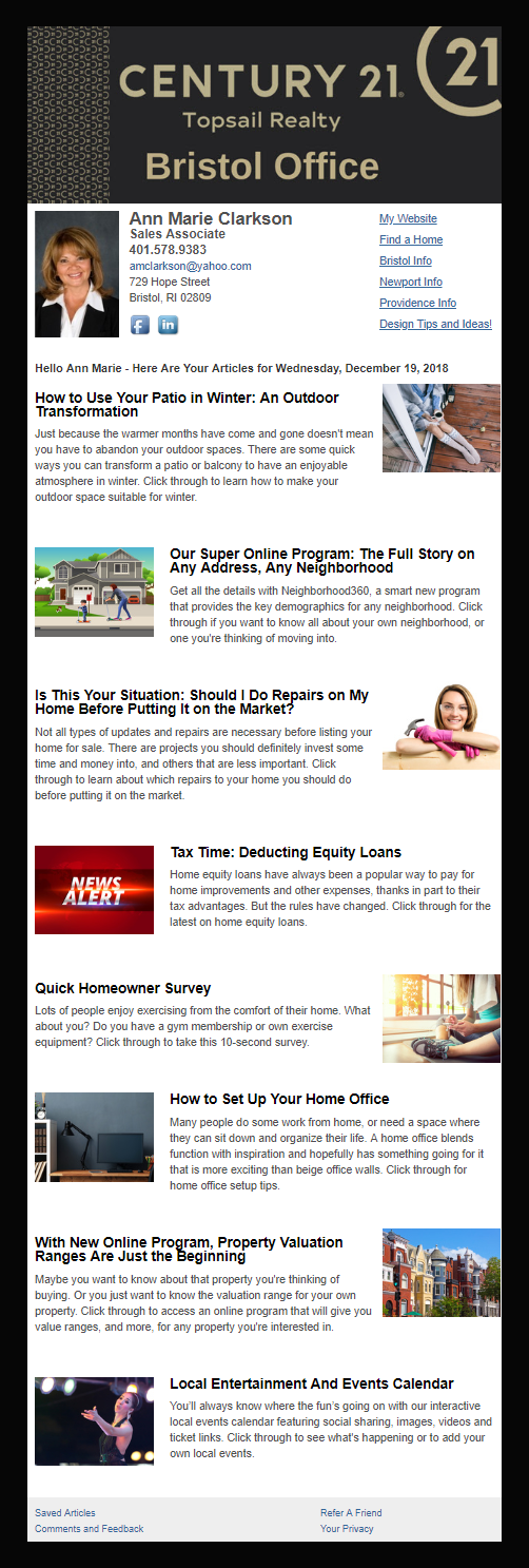 Century 21 Topsail Realty - HomeActions Sample Email Newsletter