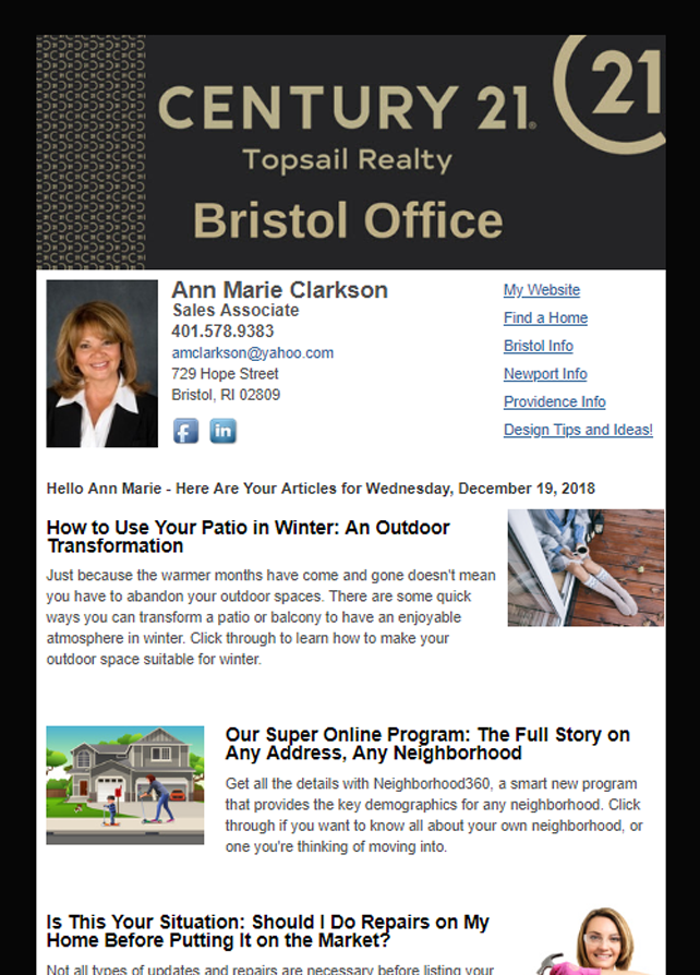 Century 21 Topsail Realty HomeActions Email Newsletter Sample