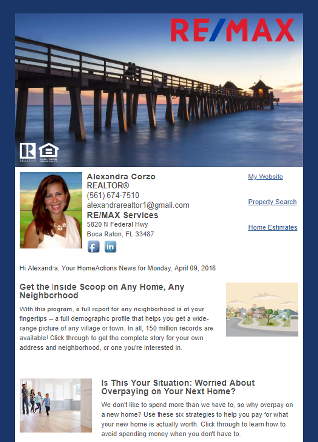 RE/MAX HomeActions Email Newsletter Sample