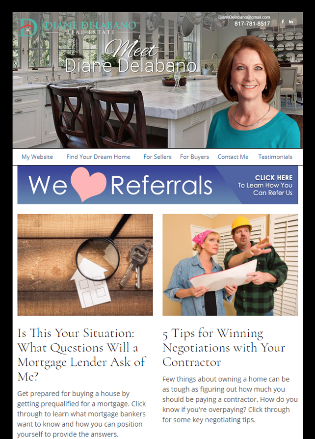 Real Estate Marketing Newsletter Example From An Agent At Diane Delabano Real Estate