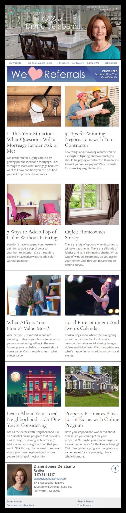 Diane Delabano Real Estate - HomeActions Sample Email Newsletter