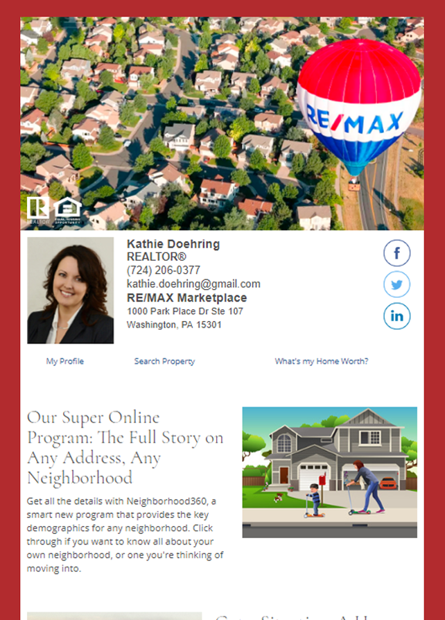 Real Estate Marketing Newsletter Example From An Agent At RE/MAX