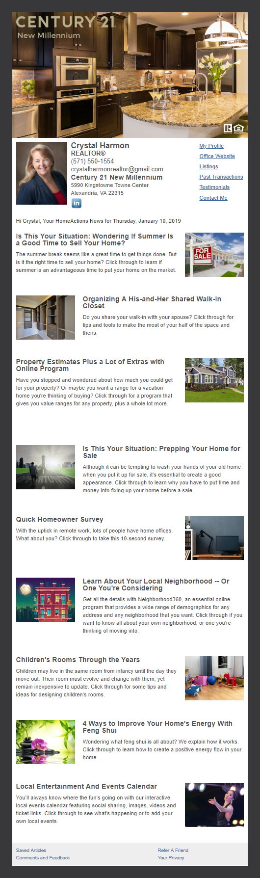 Century 21 - HomeActions Sample Email Newsletter