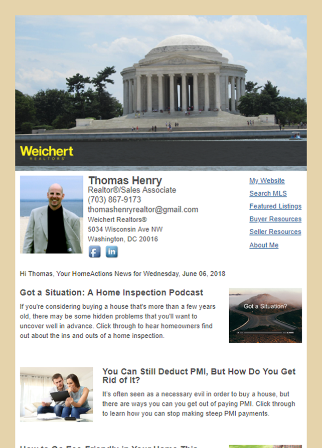 Weichert REALTORS® HomeActions Email Newsletter Sample