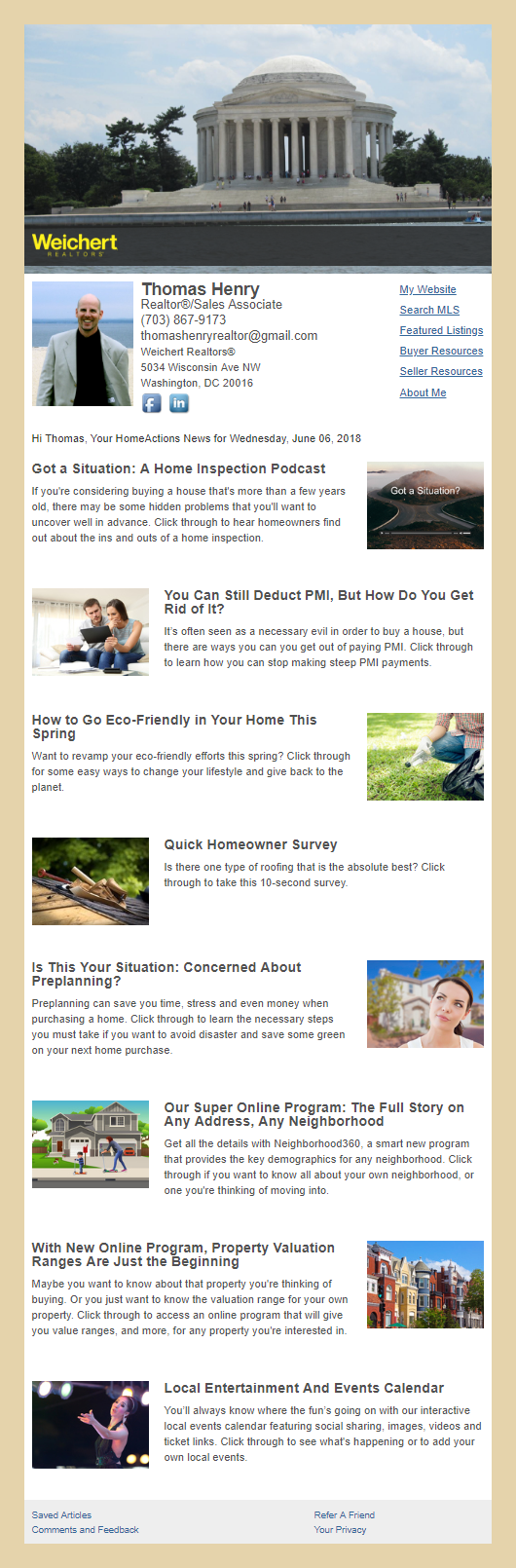 Weichert REALTORS® - HomeActions Sample Email Newsletter