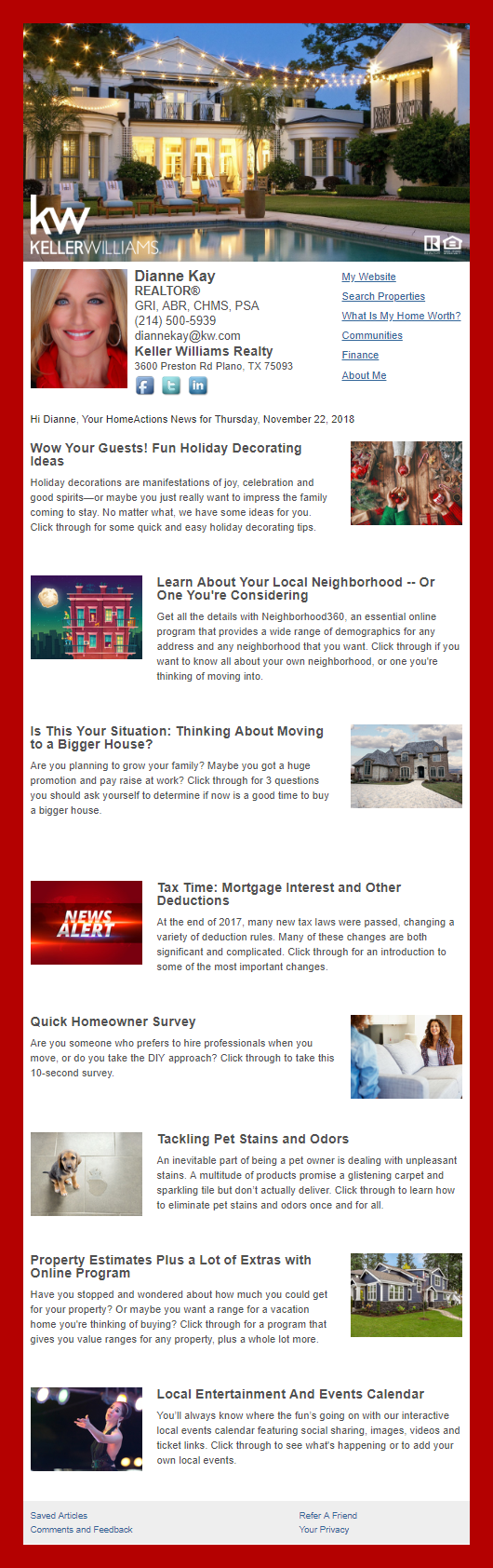 Keller Williams Realty - HomeActions Sample Email Newsletter