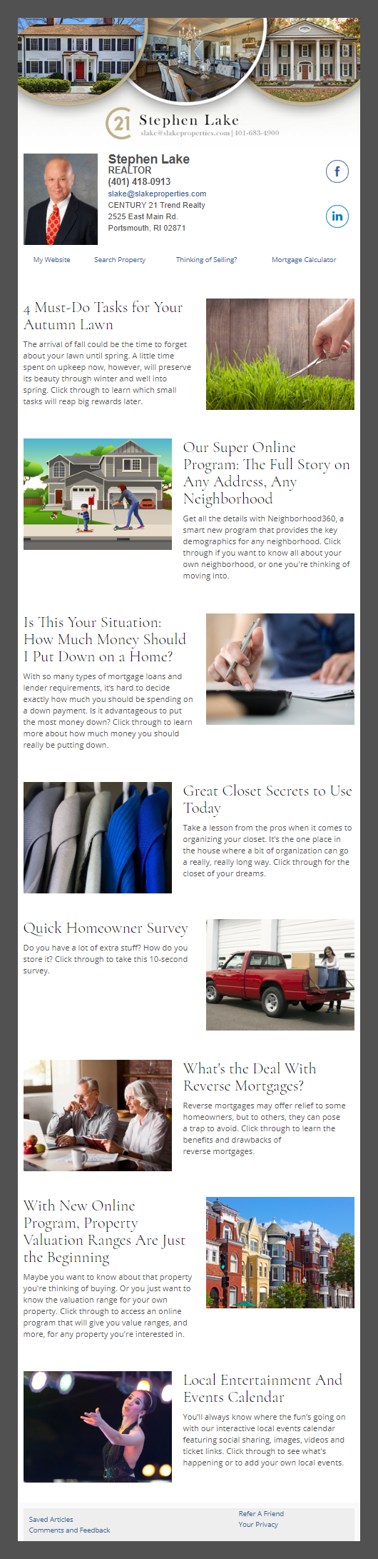 Century21 - HomeActions Sample Email Newsletter