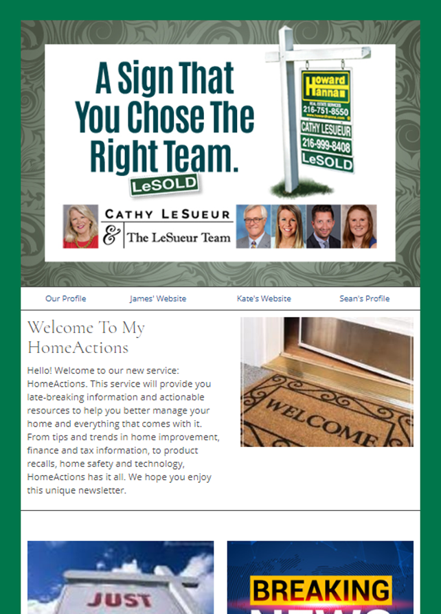 Howard Hanna HomeActions Email Newsletter Sample