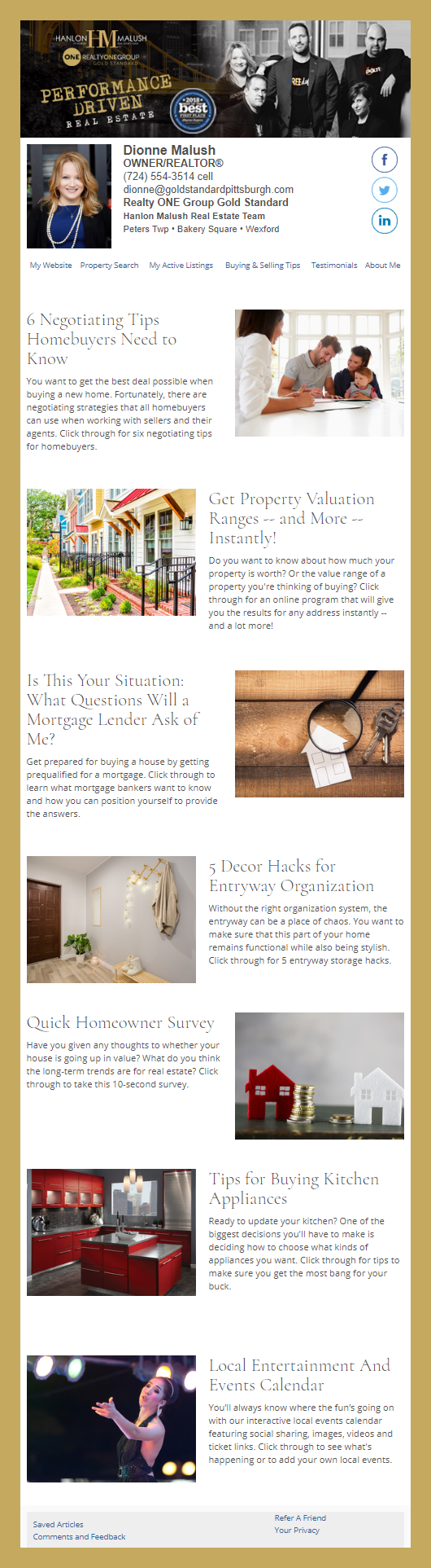 Realty One Group - HomeActions Sample Email Newsletter