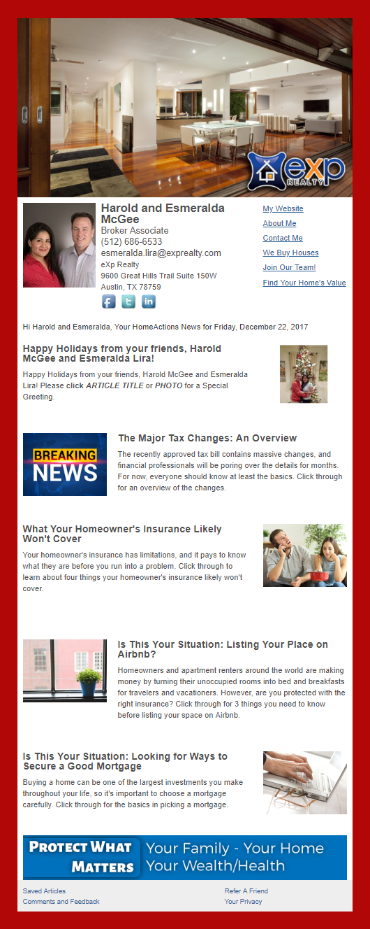 exp Realty - HomeActions Sample Email Newsletter