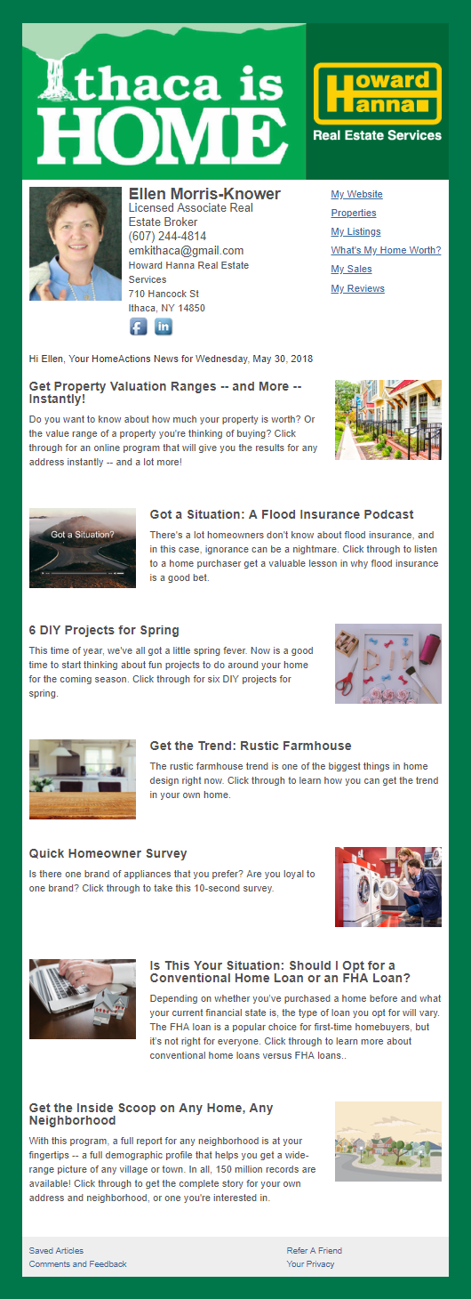 Howard Hanna - HomeActions Sample Email Newsletter