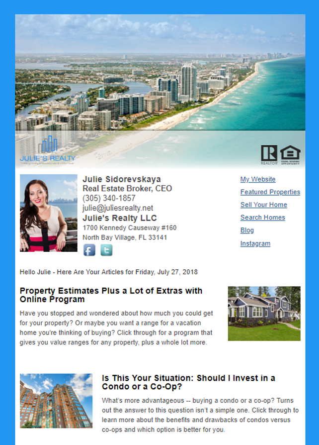 Real Estate Marketing Newsletter Example From An Agent At Julies Realty LLC