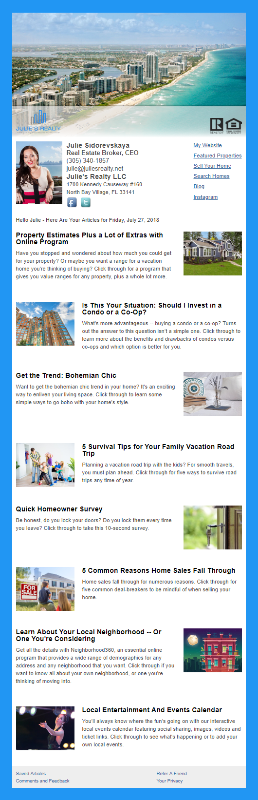 Julies Realty LLC  - HomeActions Sample Email Newsletter