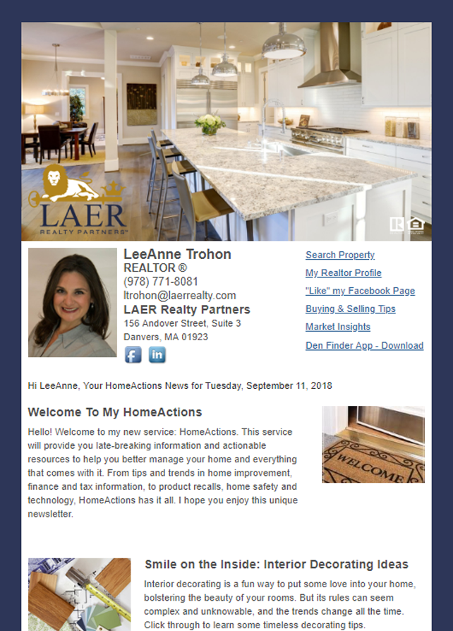Real Estate Marketing Newsletter Example From An Agent At LAER Realty Partners