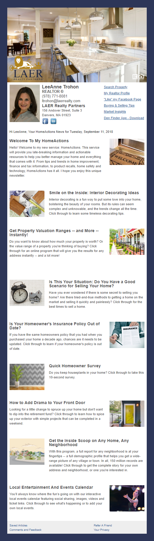 LAER Realty Partners - HomeActions Sample Email Newsletter