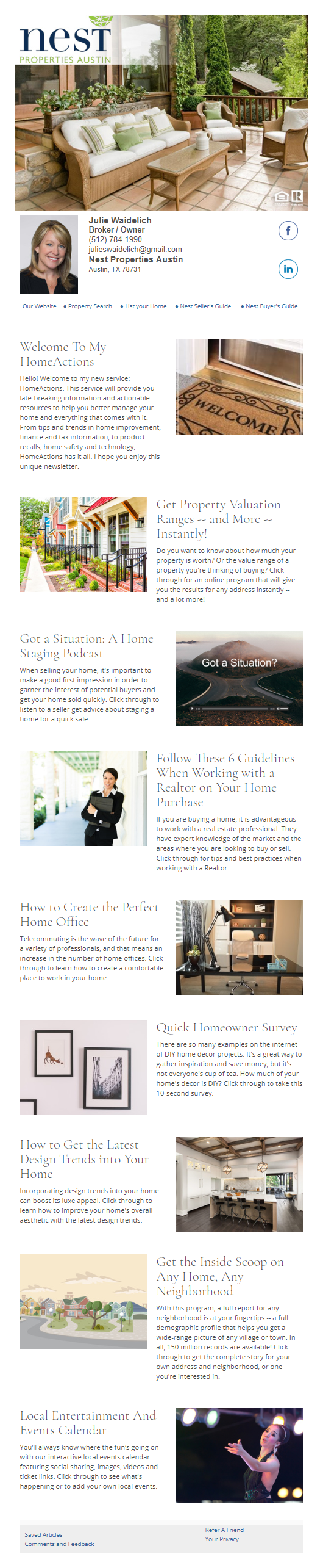 Nest Properties Austin - HomeActions Sample Email Newsletter