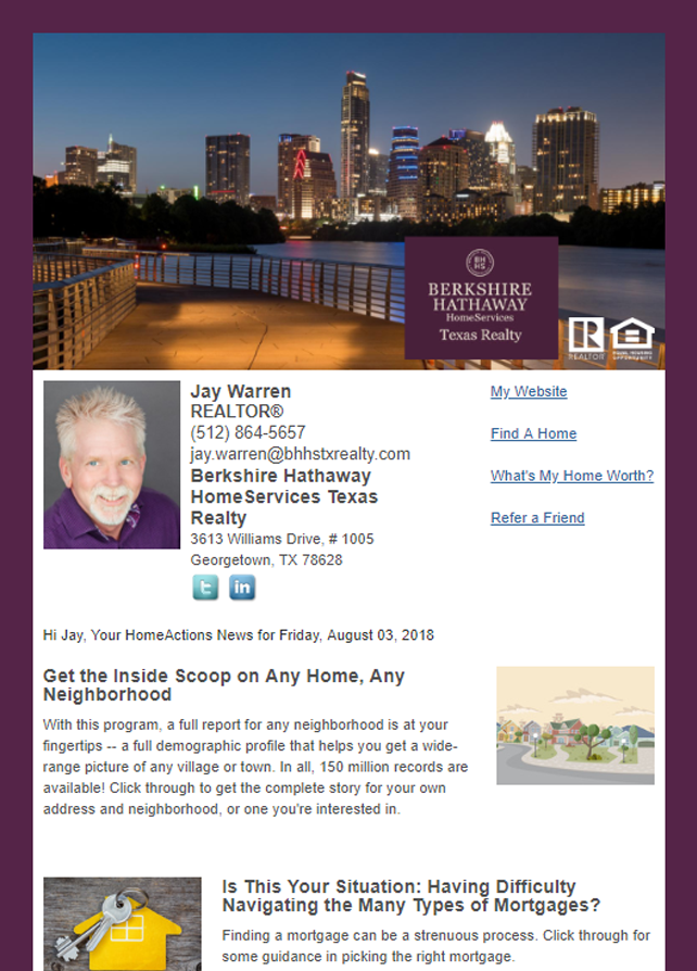 Berkshire Hathaway HomeActions Email Newsletter Sample