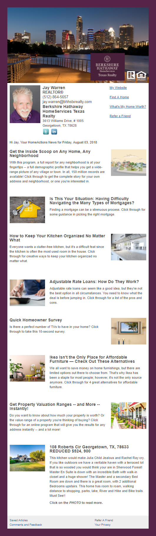 Berkshire Hathaway Home Services - HomeActions Sample Email Newsletter