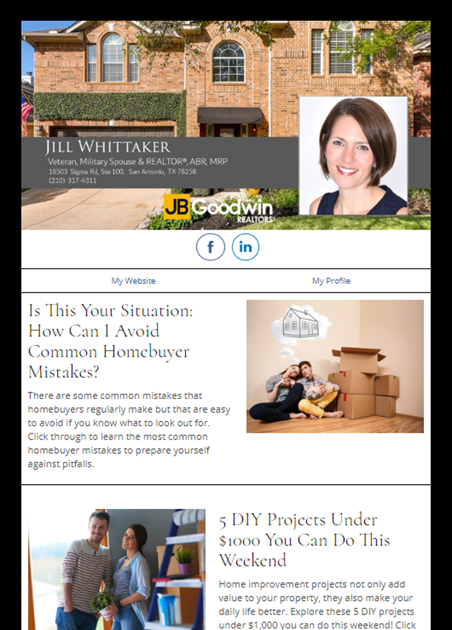 Real Estate Marketing Newsletter Example From An Agent At JB Goodwin