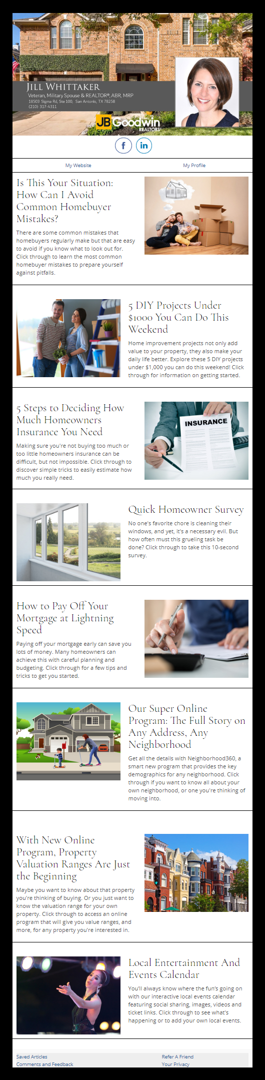 JB Goodwin - HomeActions Sample Email Newsletter