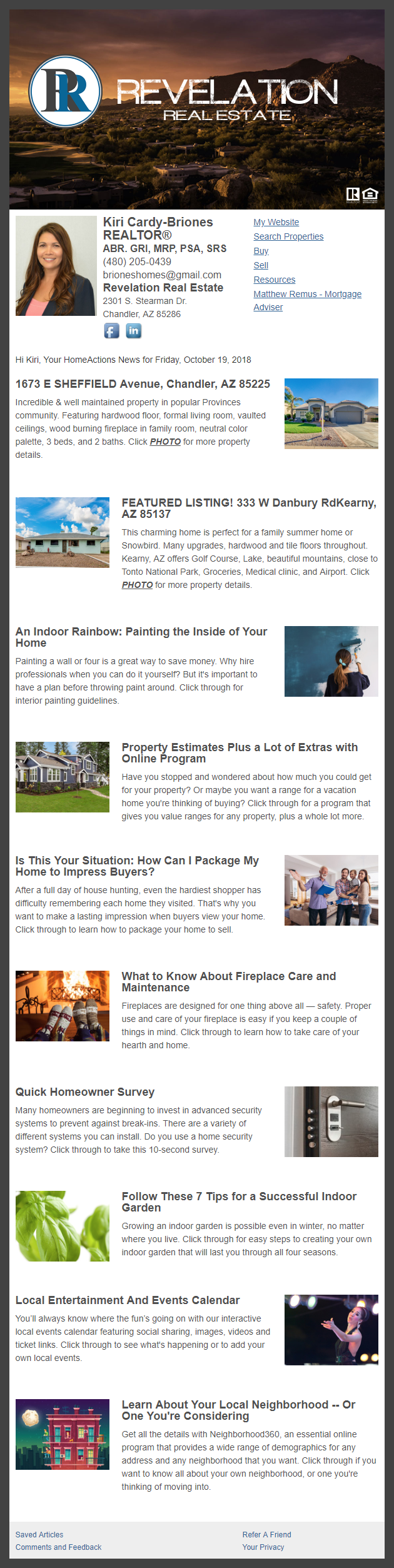 Revelation Real Estate - HomeActions Sample Email Newsletter