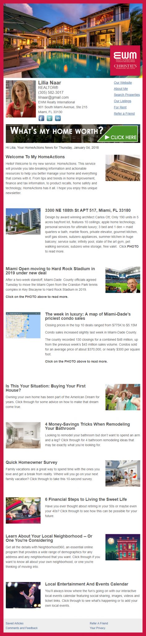 EWM Realty - HomeActions Sample Email Newsletter