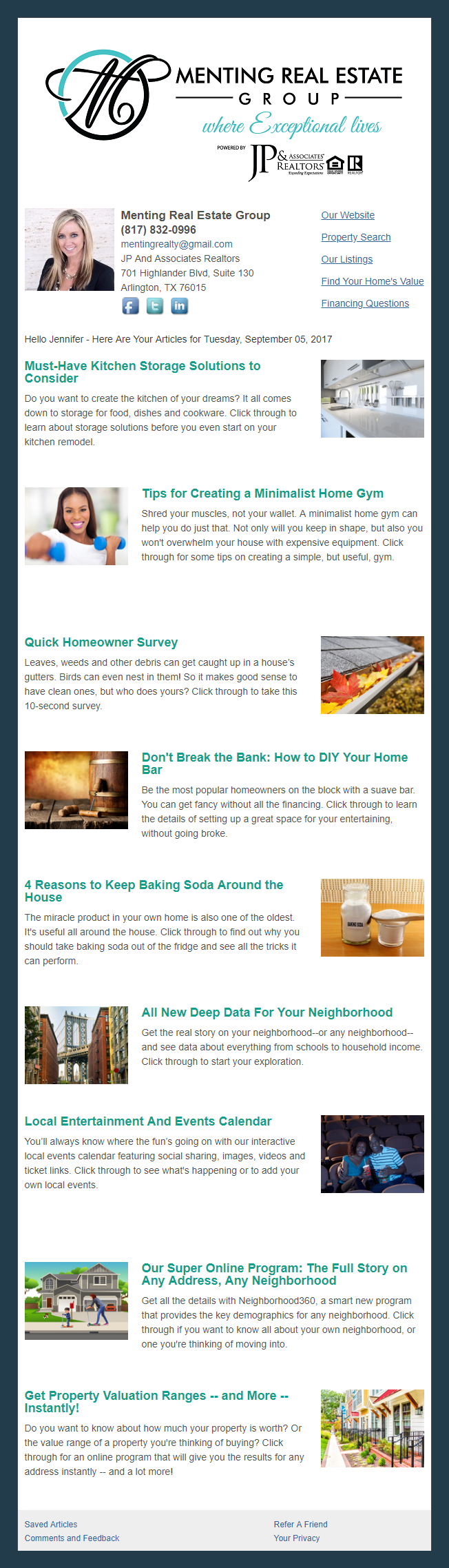 Menting Real Estate Group - HomeActions Sample Email Newsletter