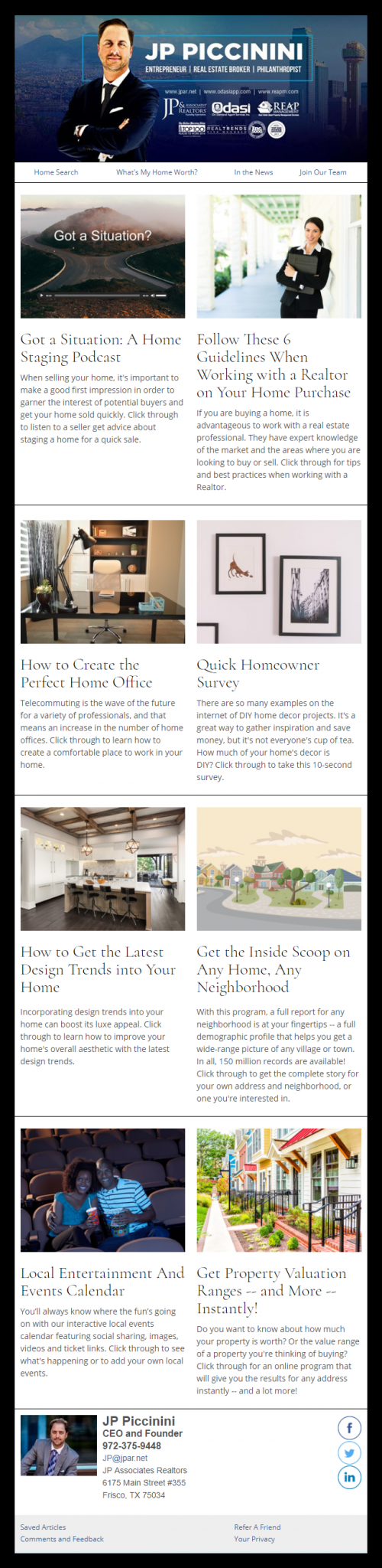 JP & Associates - HomeActions Sample Email Newsletter