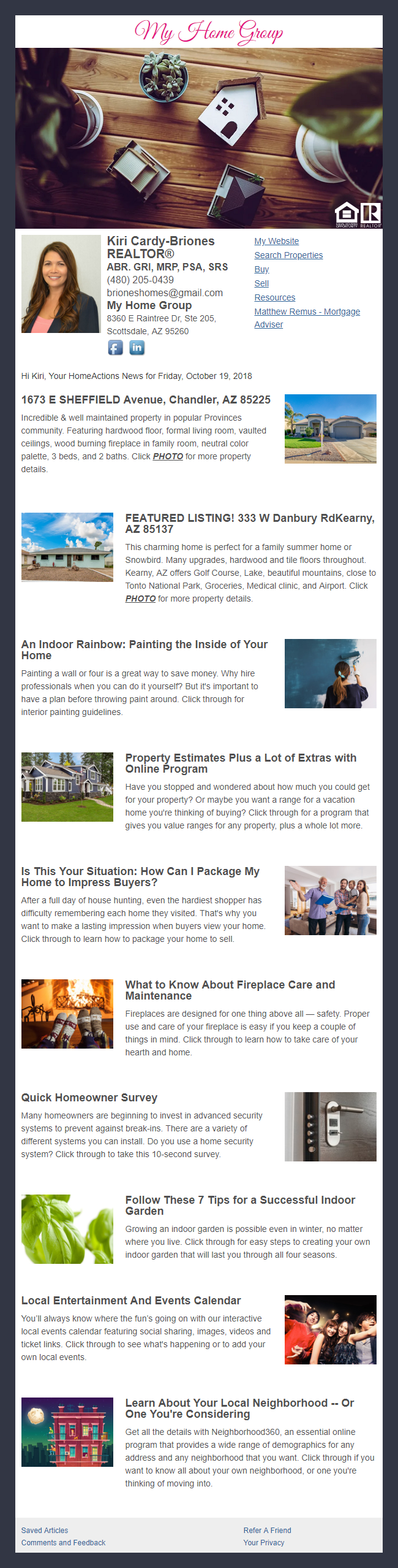 My Home Group - HomeActions Sample Email Newsletter