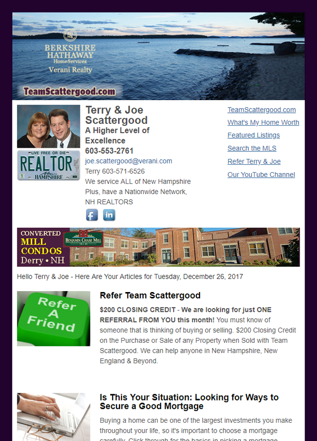 Real Estate Marketing Newsletter Example From An Agent At BHHS Berkshire Hathaway Home Services Verani Realty