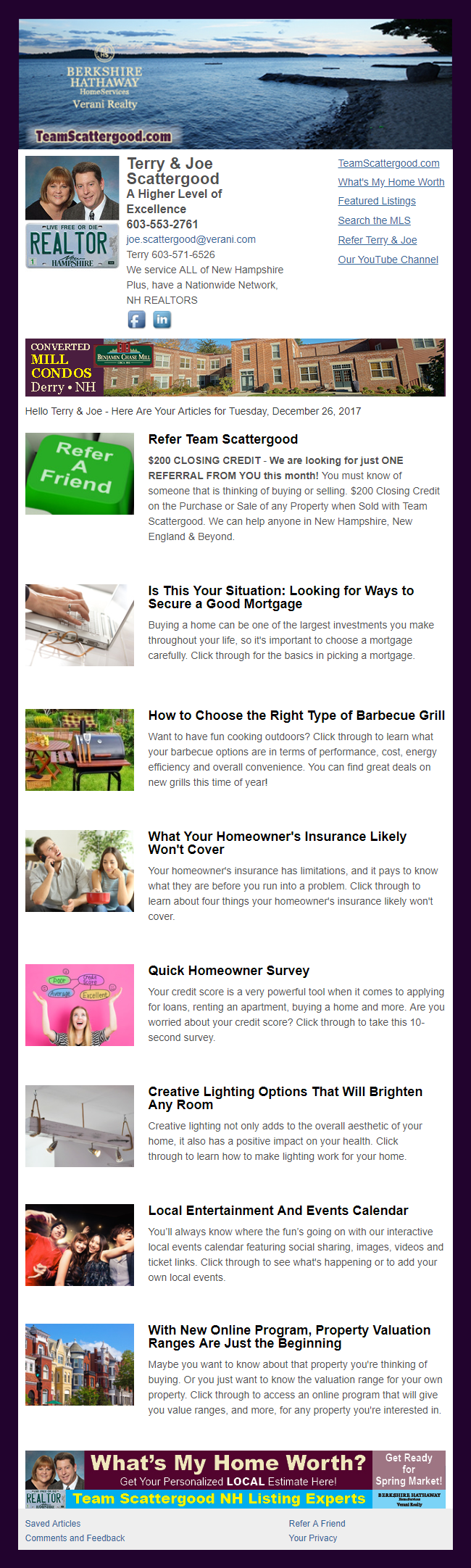 Berkshire Hathaway - HomeActions Sample Email Newsletter
