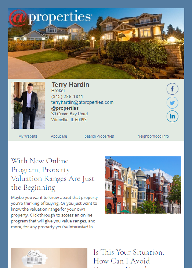 Real Estate Marketing Newsletter Example From An Agent At @Properties