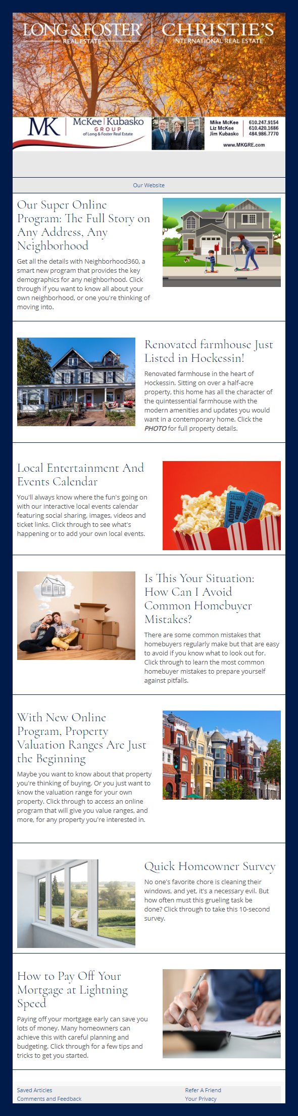 Long & Foster Real Estate Inc. - HomeActions Sample Email Newsletter