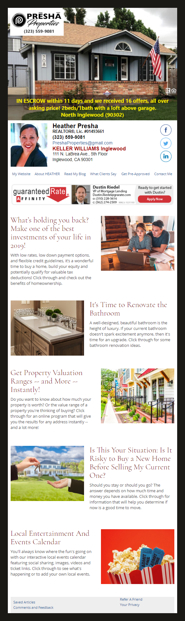 Keller Williams - HomeActions Sample Email Newsletter