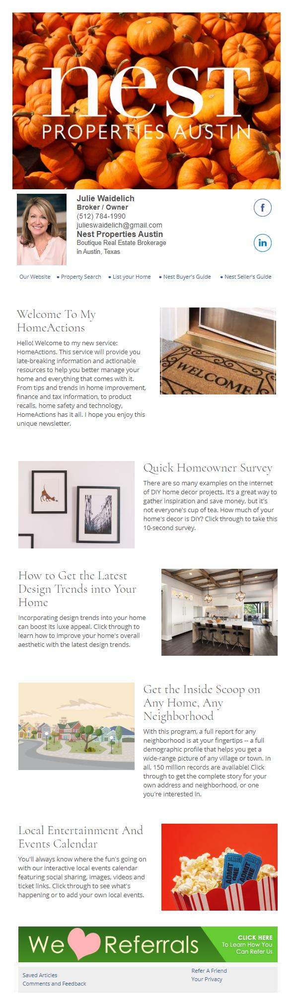 Nest Properties Austin - HomeActions Sample Email Newsletter