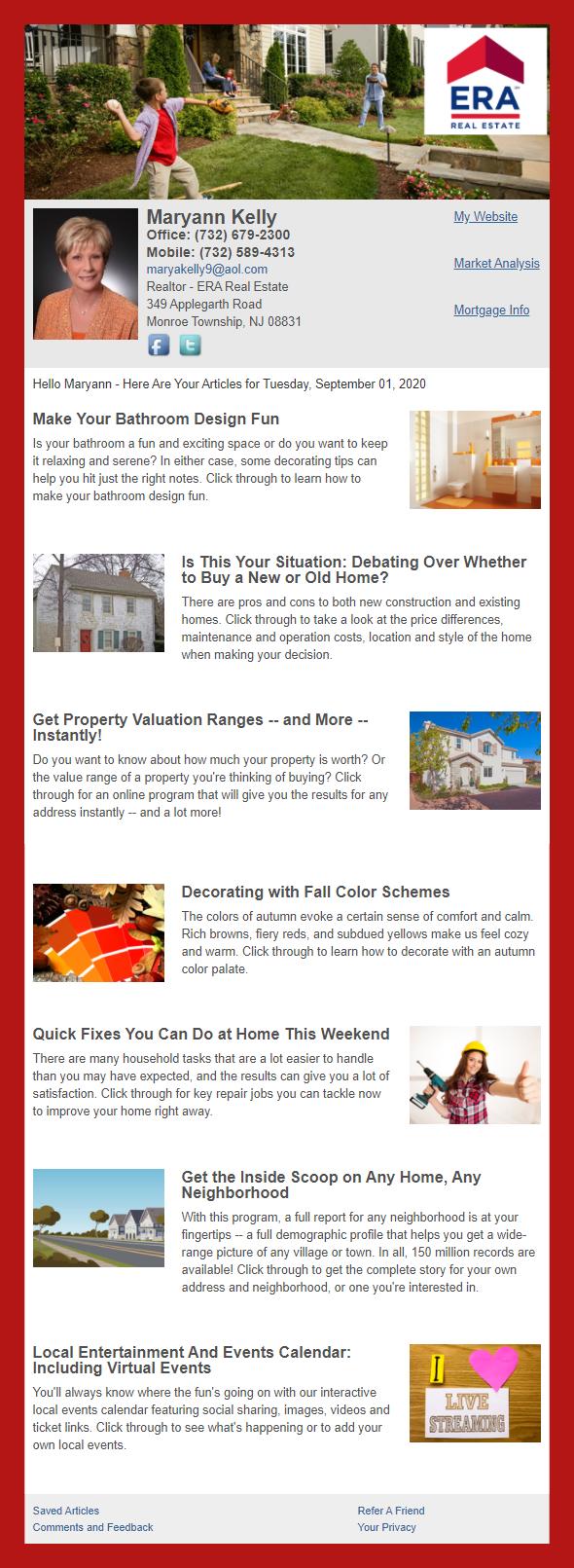 ERA Real Estate - HomeActions Sample Email Newsletter