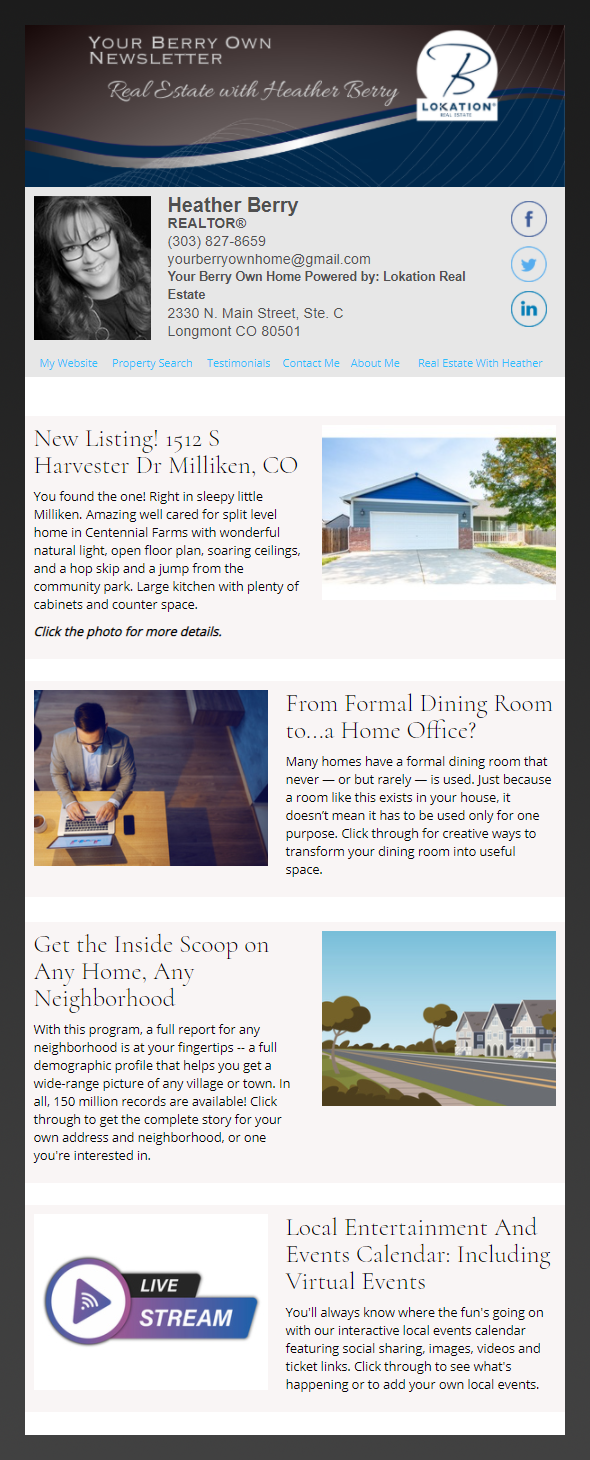 Lokation Realty - HomeActions Sample Email Newsletter