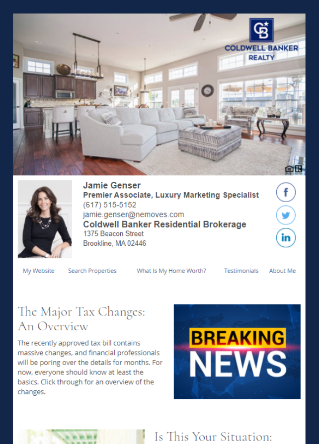 Real Estate Marketing Newsletter Example From An Agent At Coldwell Banker Residential Brokerage