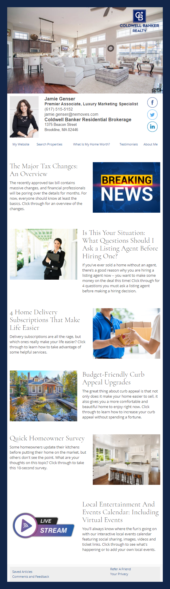 Coldwell Banker - HomeActions Sample Email Newsletter