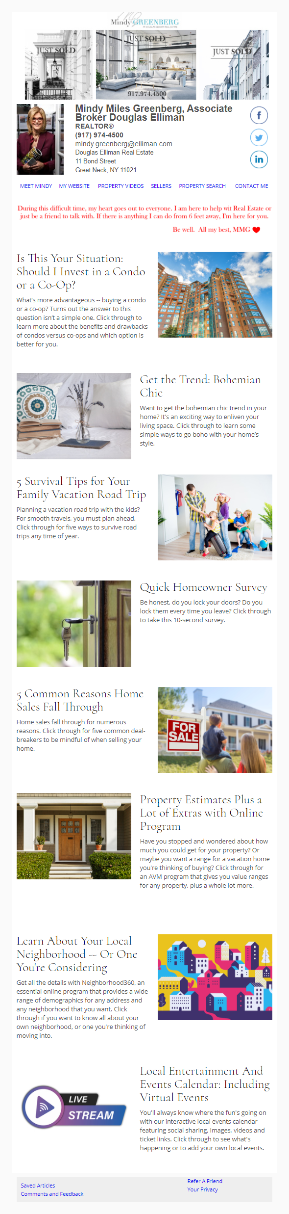 Mindy Greenberg With Douglas Elliman Real Estate - HomeActions Sample Email Newsletter
