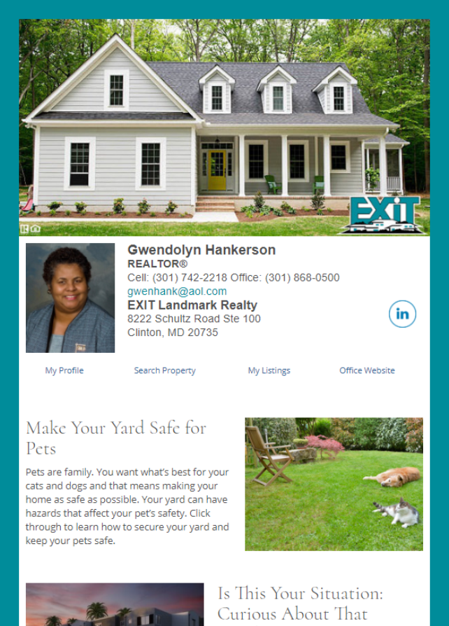 Real Estate Marketing Newsletter Example From An Agent At EXIT Realty