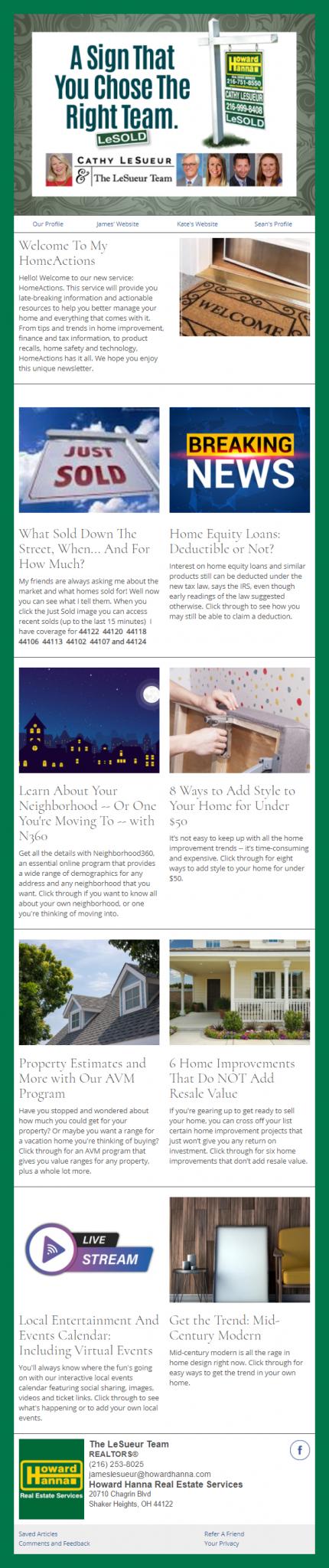 Howard Hanna- HomeActions Sample Email Newsletter