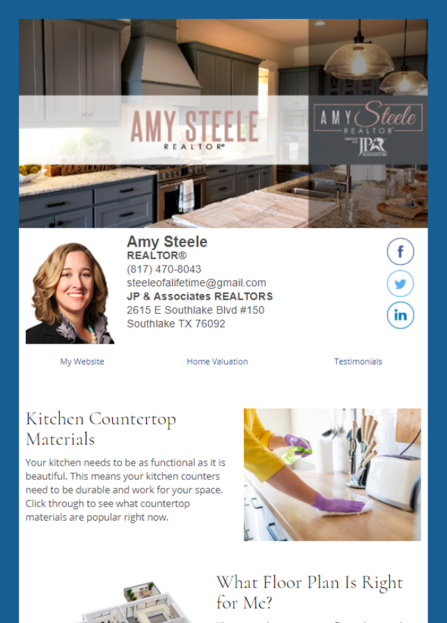 Real Estate Marketing Newsletter Example From An Agent At JP & Associates Real Estate