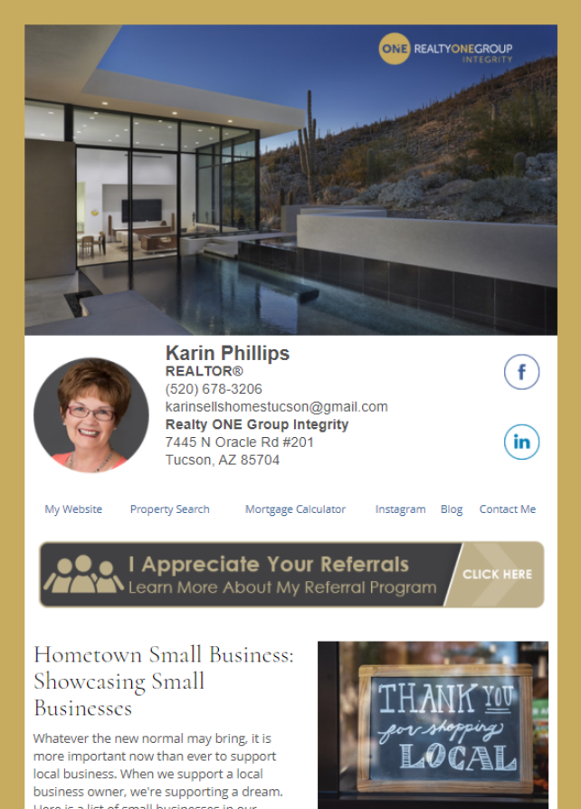 Real Estate Marketing Newsletter Example From An Agent At Realty One Group